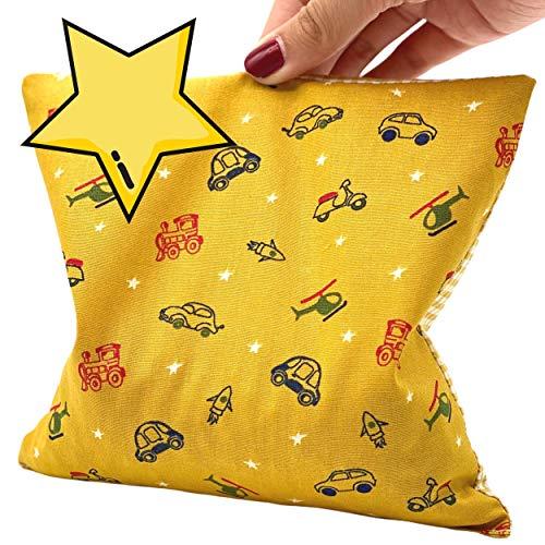 NEU Herbalind nachtleuchtendes Kinder Kirschkernkissen 17x17 cm Wärmekissen OEKO TEX 100{189d50ae2e3c37760e4901b946d3242178a3c40588a09eacbfa77378d505a8aa} Baumwolle, Yellow Pillow gelb - Karo, Hand Made in Germany - Körnerkissen Mikrowelle Wärme Kälte Kissen