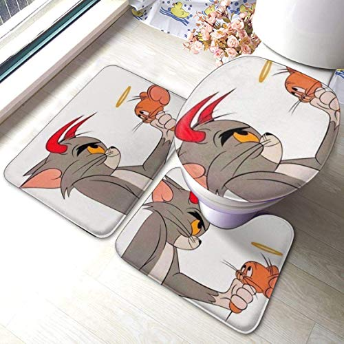 baowen Tom and Jerry Bathroom Antiskid Pad Astronaut Snoopy Toilet Cover Mat Non-Slip Floor Mat Rug Bathroom 3 Sets
