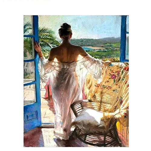 DIY digitale olieverfschilderij meisje voor het raam frameloos canvas hangend schilderij hoofddecoratiegeschenk, met de hand geschilderd moderne muurkunst 40 * 50 cm voor kinderen kinderen studenten beginners liefhebbers