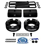 Supreme Suspensions - Full Lift Kit for 1999-2006 Toyota Tundra 3' Front Lift Strut Spacers + 3' Rear Lift Tapered Blocks + Square Bend U-Bolts + Brake Line Relocator Bracket (Black)