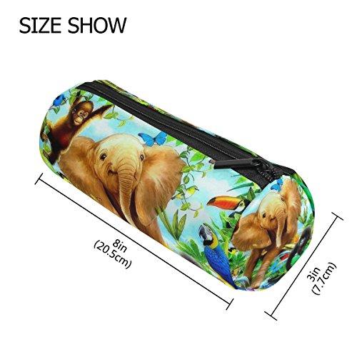 TIZORAX Schilderij Jungle Forest Olifant Aap Vogel Papegaai Pencil Case Pen Rits Tas Coin Organizer Make-up Kostuum Tas voor Vrouwen Tiener Meisjes Jongens Kids