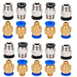 Aoicrie 10 Pcs PC4-M6 Fittings and 10 Pcs PC4-M10 Male Straight Pneumatic PEFE Tube Push Fitting Connector for 3D Printer 1.75mm Filament