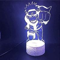 男の子と女の子のためのgiyiohok3DナイトランプランプナルトアニメコントロールUSBLedナイトライトランプ(色:リモートでクラック)-リモートでクラックなし-Crack_with_Remote-リモートをクラックしない
