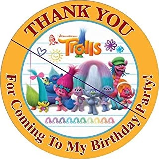 12 TROLLS - Birthday Party Favor Stickers/Labels for Gift, Goody Treat Bag (2.5 inches circle stickers, bags not included) Style 2