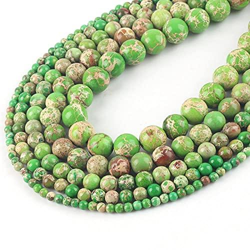 Turquoise Natural Stone Beads mar Sedimento suelto Malachite Beads para la fabricación de joyería DIY-Sedimento de mar verde_6mm 61pcs perlas