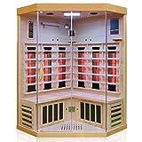 Dewello Infrarotkabine BRANDON 120x120 Dual-Therm für 1-2 Personen aus Hemlock Holz mit Vollspektrumstrahler