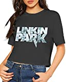 Custom Custom Linkin-Park Logo Printing Crop Top Summer Short-Sleeve tee for Women's Camisetas y Tops(Small)