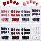 192 Piezas Uñas Postizas Cortas Uñas Postizas Cuadradas Mate Uñas Acrílicas Coloridas a Presión Uñas Falsas de Ataúd de Cubierta Completa 8 Cajas (Color Mezclado)