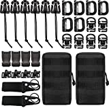 Createy Kit of 30 Attachments for 1' Webbing Molle Bag Tactical Backpack Vest Belt, Molle Accessories Kit with Molle Pouches D-Ring Grimloc Locking Gear Clip Web Dominator Elastic Strings Buckle