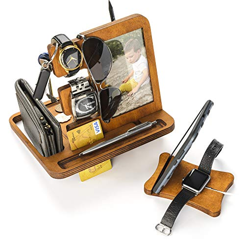 Rostmary GIFT Shop Holz-Dockingstation für Herren, integrierter Fotorahmen – Handy-Tablet & Uhren-Ladestation – handgefertigte Männer, Ihn, Ehemann, Geschenk Papa