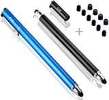B & D 5.5'' Stylet Stylo Écran Tactile Capacitif Stylus pour Apple iPad, iPhone, iPod, Kindle, Tablette, Samsung Galaxy, LG, HTC+ 20 Embouts de Rechange (Noir/Bleu)