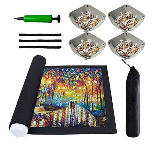 Jigsaw Puzzle Mat Roll Up - Saver Storage 2000 1500 1000 500 300 Pieces Puzzles, Replace Puzzle Glue Board Table, Puzzle Frame Felt Large Mat with 4 Sorting Trays Organizer puzzles For Adults Kids