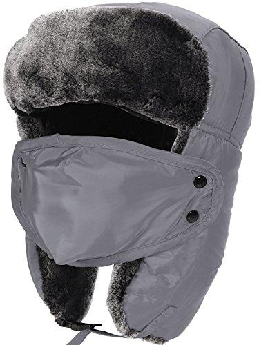 Mens Trapper Hat Winter Fur Hats for Men Aviator Russian Hats,Grey
