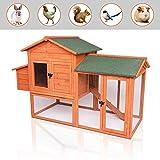 Best Chicken Coops - POTBY 41'' Chicken Coop, Deluxe Wooden Rabbit Hutch Review