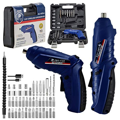 Homdum cordless drill screwdriver pro-cut rechargeable and 90°Rotatable screw driver kit with onboard LED Light and 46 pc accessories in a handy storage case 3.6V