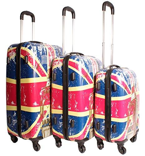 2408 Union Jack Multicolour Set of 3 Suitcases - Super Lightweight 4 Wheels - Funky Luggage Set - Hard Plastic - London Big Ben UK Flag