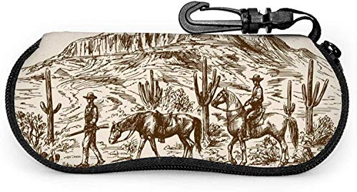 MODORSAN West Desert with Cowboys Estuche suave para gafas de sol para mujeres Hombres Estuche portátil para lentes con cremallera de neopreno