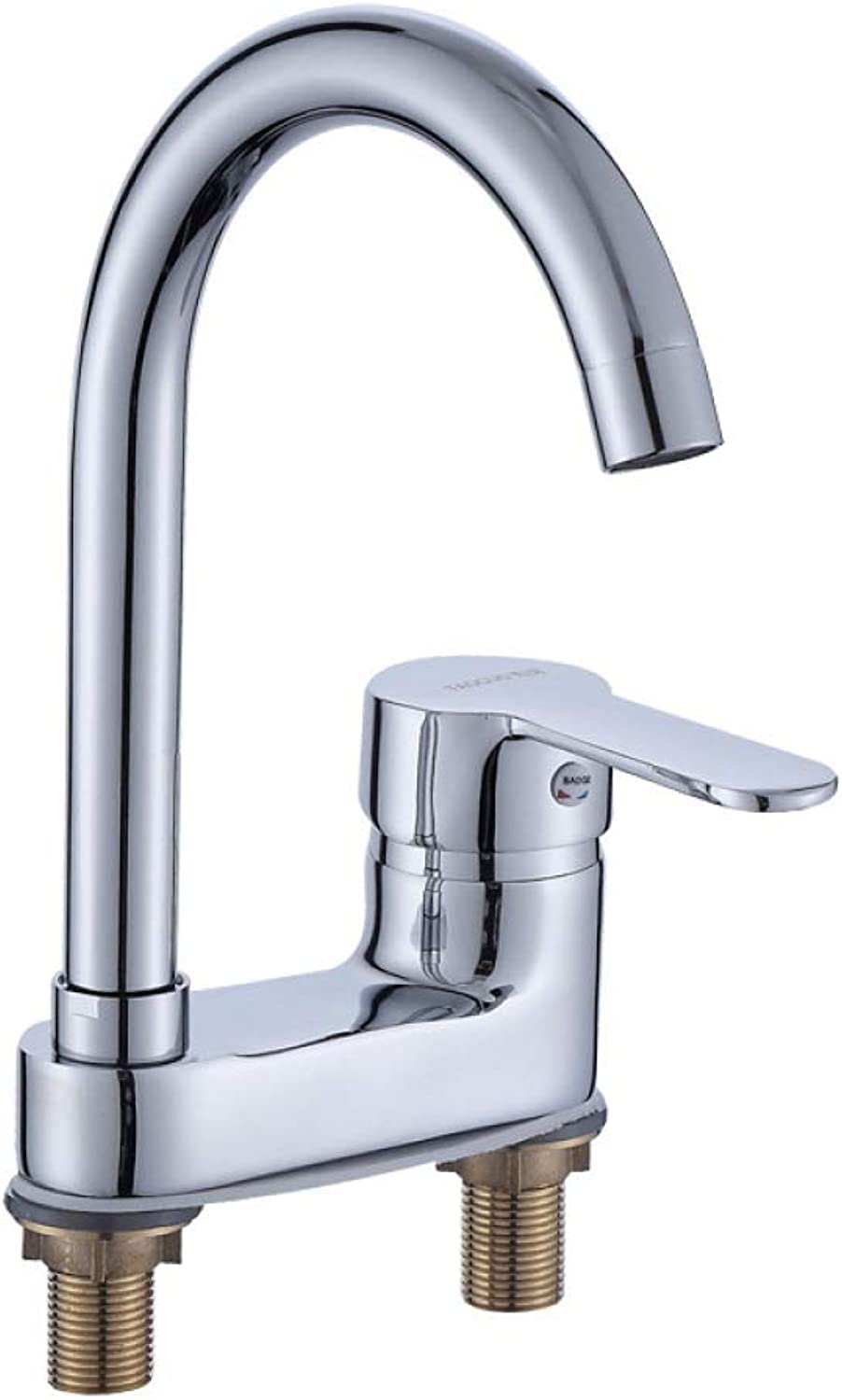 PZXY Faucet Double Hole Basin hot and Cold Faucet with Shower Sprinkler Double Faucet Three-Hole Vintage Faucet