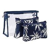 AimixinAimixin - Juego de bolsas de maquillaje para mujer, 3 tamaños diferentes, bolsa de aseo para viajes, uso diario, Azul marino, 3.00[set de ]