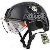 ATAIRSOFT Airsoft Taktisch Kampf Paintball Schnell Bj Typ Helm Mit Schutzbrille Schwarz