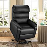 Esright Electric Dual Motor Power Recliner Lift Chair PU Leather Lift Recliner for Elderly, Heat/Vibration/Massage/Remote Control, Lie Flat, Black