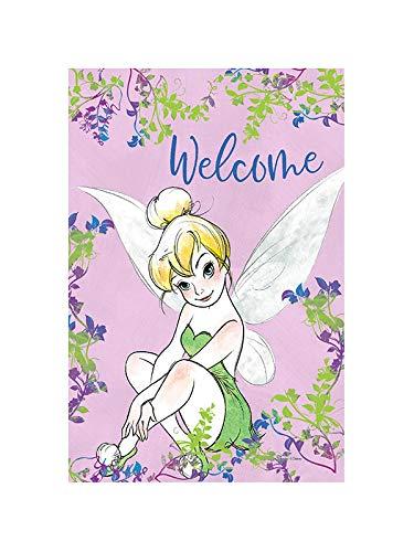 "Flagology.com, Disney, Tinker Bell, Tinker Bell Welcome Spring Vines – Garden Flag – 12.5"" x 18"", Outdoor/Indoor, Exclusive Premium Fabric, Officially Licensed Disney"