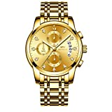 Men's Watches Luxury Fashion Casual Dress Chronograph Waterproof Military Quartz Wristwatches for Men Stainless Steel Band Gold Black (Gold-2)