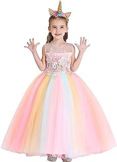 IZKIZF Unicorn Rainbow Costume Girls Princess Birthday Party Long Maxi Tulle Dress Halloween Carnival Cosplay Fancy Dress