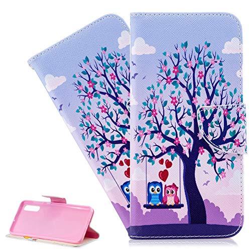 Xiaomi Redmi Note 8T Hülle,Xiaomi Redmi Note 8T Hülle Handyhülle Leder Niedliche Paar-Eule Flip Hülle PU Leder Cover Magnet Schutzhülle Tasche Ständer Handytasche für Xiaomi Redmi Note 8T,BF Couple Owl