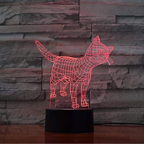 Fyyanm Chat Mignon Kitty Lampe 7 Couleurs Changeantes Veilleuse Atmosphère Lumière 3D Humeur Tactile Lampe Home Decor 3D