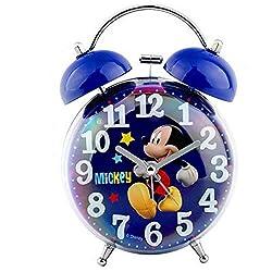 Yqs Alarm Clock Alarm Clock New 3D Cartoon Stitch Student Boy Girl Kids Night Light Bedside Bell Alarm Clock (Color : Mickey Mouse)