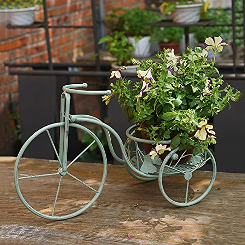 PLHMS Soporte para Carrito de macetas, Soporte para Plantas de Triciclo, Jardinera de pie de Metal para jardín, Soporte para Plantas de Bicicletas para Plantas Artificiales, Decoración de Jardines