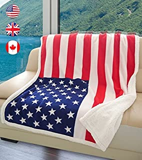 US Flag Patriotic Sherpa Throw American Flag Blanket, Super Cozy Fleece Plush Bed Throw TV Blankets Reversible for Bed or Couch 50