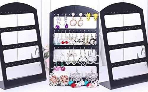 Nikgic 1 soporte organizador para joyas de plástico con 24 pares de 48 agujeros, color negro