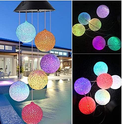 LED Solar Wind Glockenspiel, Color Change Velocità del vento Esterni, Solar Power Crystal Ball Chimes Vento Led Vento Mobile Luci solari Vento Campana per giardino Courtyard Decorazione della casa