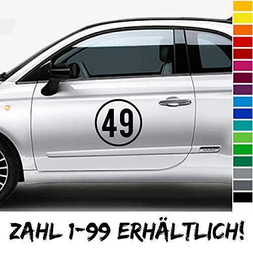 PrintAttack R005 | Startnummer 2er Set 1-99 Rallye Aufkleber für Auto Motorrad Nummer Autoaufkleber Autonummer Motorsport Racing (Farbe nach Wahl, 30 cm)