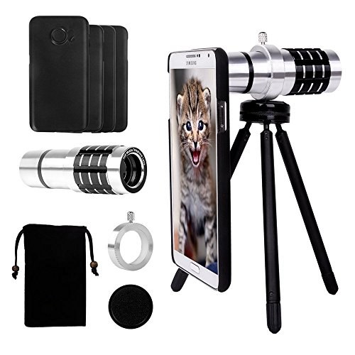 Telephoto Lens for Samsung Galaxy S7 Edge/S7/S6 Edge/S6, Yarrashop Camera Lens Kit with 12x Aluminum Telephoto Lens + Mini Tripod + Hard Case + Velvet Bag + Cleaning Cloth