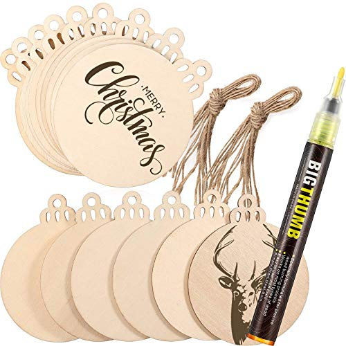 Outus Pyrography Marker Wood Burning Pen with 30 Pieces Christmas Wooden Ornaments Unfinished for DIY Wood Painting