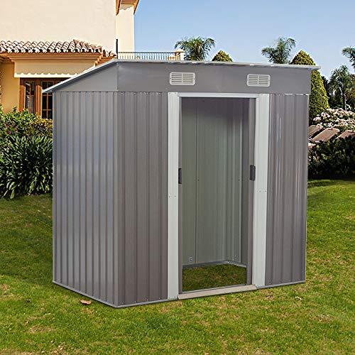 Tool Storage House Metal Garden Apex Roof Storage Shed (Grey, 6x4)