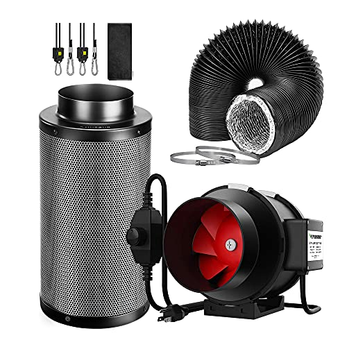 VIVOSUN 6 Inch 390 CFM Inline Fan with Speed Controller, 6 Inch Carbon Filter and 8 Feet of Ducting Kit for Grow Tent Ventilation