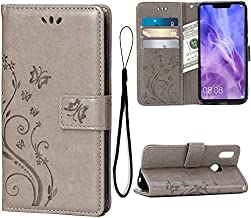 Wallet Case for Huawei Nova 3, 3 Card Holder Embossed Butterfly Flower PU Leather Magnetic Flip Cover for Huawei Nova 3(Grey)