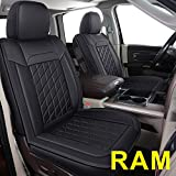 LUCKYMAN CLUB 81D-XFG Ram Seat Covers Full Set, Fit for Most of The 2006-2020 Ram 1500 2500 3500 Crew Cab& Quad Cab Truck, with Faux Leather (81XFG-Black)