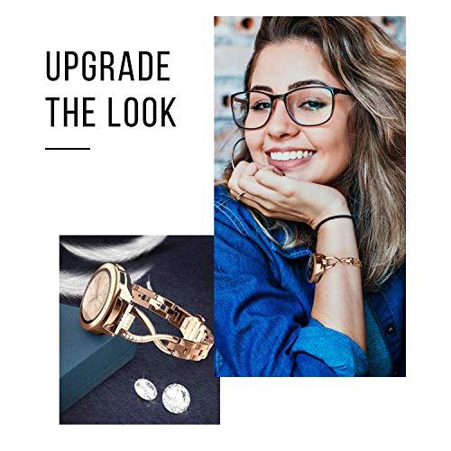 Ownaco Kompatible mit Samsung Galaxy Watch3 41mm Armband/Galaxy Watch Active 2 40mm/44mm Armband, 20mm Metall Mailänder Edelstahl Rose Gold Ersatzarmband Zubehör Ersatzband Band Uhrenarmband