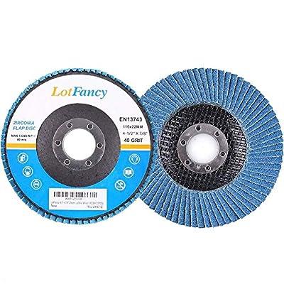 "LotFancy 4.5"" x 7/8"" Zirconia Angle Grinder Flap Disc Wheel"