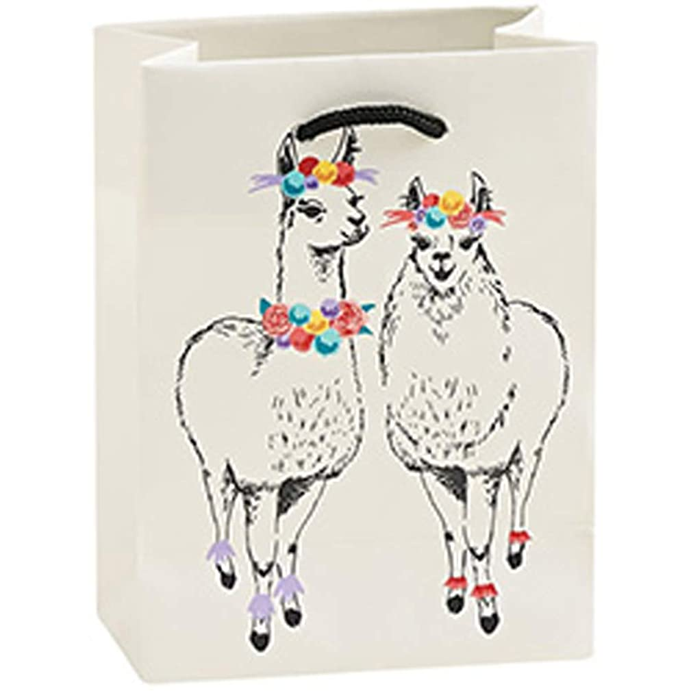 Llama Floral Multicolored On White 6 x 5 Paper Gift Wrap Bag with Handle