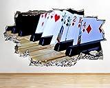 Pegatinas de pared Wall Stickers Piano Playing Cards Music Smashed Calcomanía 3D Art Vinyl Room -90 * 100CM