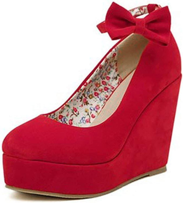 Fortune-god Women High Heels Platform Wedges Pumps Elegant Flock Buckle Bowtie Ankle Strap Party Wedding shoes