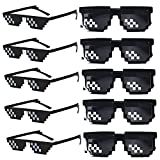 FSMILING 10er Thug Life Brille Lustige 8 Bit Mosaik Party Sonnenbrille Set Spaßbrille für...