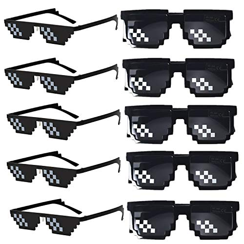 FSMILING 10pack Pixelated Occhiali da Sole da FestaThug Life Mosaico Gamer MLG Foto Puntelli Occhiali per Adulti Bambini (Nero)