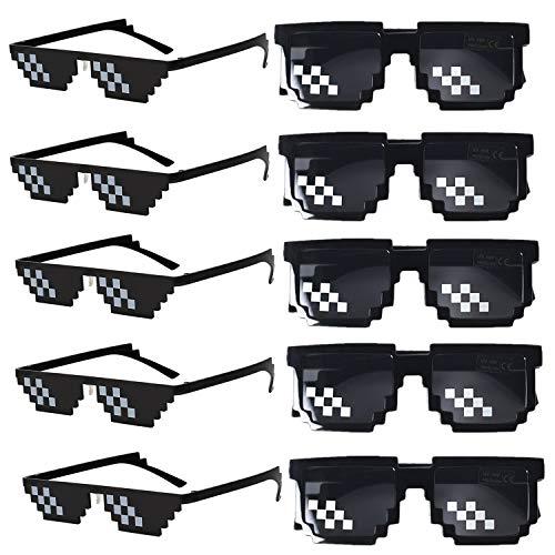 FSMILING Paquete de 10 Gafas de Sol de Mosaico 8 bits Pixelado Thug Life Gafas para Adultos niños Fiestas (Negro)
